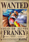 STICKERS AUTOCOLLANT TRANSP.POSTER A4 MANGA ONE PIECE WANTED FRANKY DEAD ALIVE.