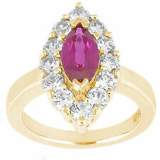 1.51 ct Ruby (marquise shape) w/ round Diamonds Wedding 14k Yellow Gold Ring