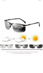 NEW Men Sunglasses Photochromic Lens Polarised Outdoor Driving Fishing Glasses .