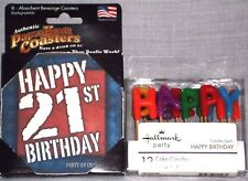 Happy Birthday 21st New Beverage Absorbent Coasters and Free 8 Pack BD Candles