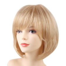 32cm/13inch Fashion Human Hair Wig Bob Blonde Bangs Full Wigs Heat Resistant