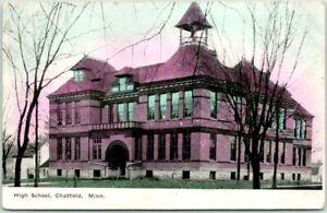 CHATFIELD, Minnesota Postcard HIGH SCHOOL Building Front View / 1909 Cancel