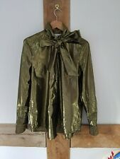 & Other Stories Gold Lame Shirt. Size 36, Bow Tie Neck, Metallic