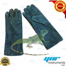 """YNR Snake Catcher Gloves Heavy Duty Reptile Lizards Leather Green Gloves 17"""" NEW"""