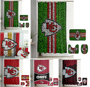 Kansas City Chiefs Bathroom Rug Set 4PCS Shower Curtain Toilet Seat Cover Gifts