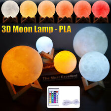 USB Rechargeable Moon Lamp 16 Color Change PLA 3D Print Night Light Touch Switch