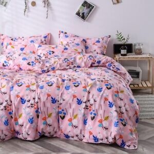 Classic Bedding Set Home Linen 4pcs/Set Duvet Cover Flat Sheet Pastoral AB Side