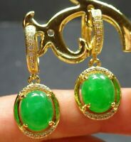 Yellow Gold Plate Green JADE Earring Earrings Cabochon Bead Diamond 101126