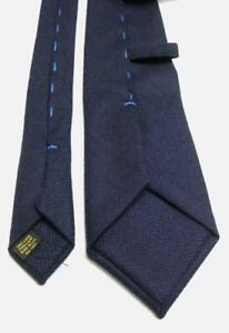 USED TIE CRAVATTA MADE IN ITALY NAVY BLUE WOOL 100%