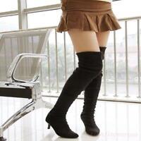 Stylish Women Suede Mid Kitten Heel Pointy Toe Nightclub Pull On Knee High Boots