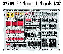Eduard 1/32 F-4 Phantom II placards PRE-PAINTED IN COLOUR! # 32509