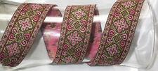 "Jacquard Ribbon Renaissance Medieval Sca 38mm 1.5"" Dk Pink 2 1/8 yard length"