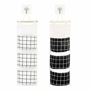 KATOOM 2PCS Sac de Rangement Suspendu classiques noires et blanches tissu sac mu