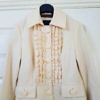Womens Wool Blend Coat Cream Ivory Ruffle Neck & Sleeve Pockets Knee Length S