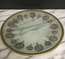New listing Frosted Decorative Round Plate 13� D Gold Tree Pattern Trim