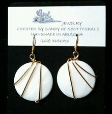 Gold Wire Wrapped Beautiful White Shell Round Earrings by Sandy of Scottsdale