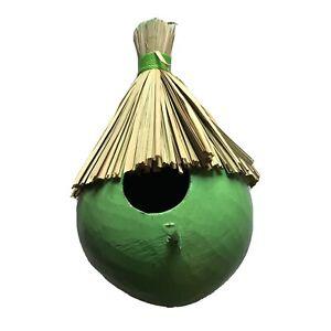 Birdhouse Coconut Fiber Hanging Tiki Thatched Roof Green Wren House