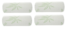Bamboo Cylinder Neck Pillow Rol Cervical Bolster Round Pillow Memory Foam 4 pack