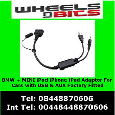 USB Y Cable to AUX Adaptor For BMW & BMW MINI Cooper iPod iPhone iPad interface