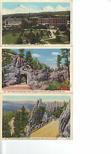 Post Card LOT of 3 Cards - BLACK HILLS SD- unposted 1932- NEEDLES Custer Soldier