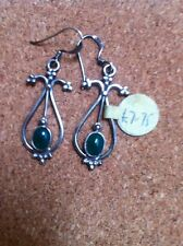 925 SILVER  AND GREEN ONYX EARRINGS BRAND NEWzz