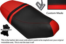 BLACK & RED CUSTOM FITS PIAGGIO NRG 50 MC3 DUAL LEATHER SEAT COVER ONLY