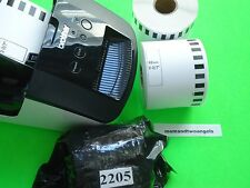 1 ROLL BROTHER LABELS 100' CONTINUOUS WHITE DK-2205 FOR BROTHER QL-700 AND 500'S