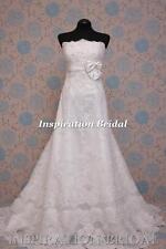Uk 1391 White Ivory Wedding Dresses dress lace a line bow corset back size any