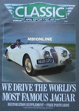 Classic & Sportscar 12/1988 featuring Jaguar XK120, MGB, Sumbeam, Pegaso, Tucker