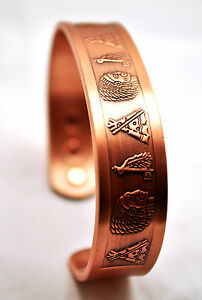 HANDSOME 7 IN 100% COPPER CHEROKEE NATION MAGNETIC THERAPY BANGLE / CUFF 4 PAIN!