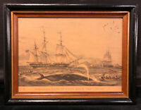 "Vintage ""Whaling, Cape Of Good Hope. The Uncas"" Lithograph Print Wood Frame"