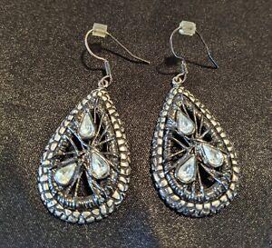 Chico's Crystal Inlaid Teardrop Earrings