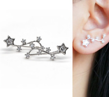 Beautiful 925 Sterling Silver Star Zirconia Cuff Climber Crawler Hook Earrings B