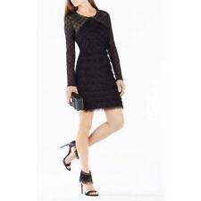 NEW BCBG MAX AZRIA BLACK VELMA LONG SLEEVE FRINGE DRESS  SIZE S