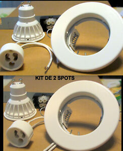 Kit 2 spots Philips LED G U 10 encastrable 6 W rond blanc complet Neuf