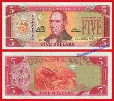 LIBERIA 5 Dollars dolares 2011 Pick 26f  SC / UNC