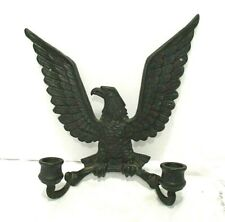Vintage Federal Eagle Patriotic Cast Iron Figural Candle Holder Wall Sconce