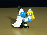 Smurfs 20746 Smurfette Bride & Groom Smurf Wedding Cake Vintage Figure Toy PVC