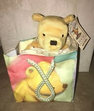 """Disney Classic Pooh Gund 6"""" Plush in Gift Bag Pooh Vintage 1990's NEW with TAG"""