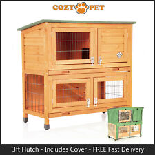 Rabbit Hutch 3ft with Cover Cozy Pet Natural Guinea Pig Run Ferret Runs RH06N