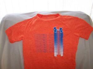 Boys Under Armour Orange TEXTURED Short Sleeve Shirt Large LOOSE FIT