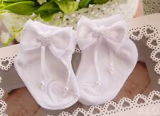 Socken Baby Söckchen mit Schleifen weiße Erstlingssocken Weiß 50 56 62 Taufe NEU
