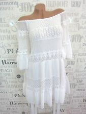 ITALY Sommer Carmen Kleid long Tunika Häkel Spitze IBIZA 36 38 40 42 Weiß E464