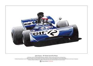Jackie Stewart Tyrrell British GP 1971 Limited Edition Fine Art Print A3 size