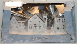 Festive LED Lit Village Scene 45cm Wide Wooden Xmas Christmas - New Damaged Box