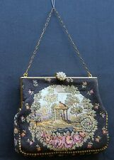 Vintage MICRO PETITE POINT VICTORIAN JEWELED CLASP HAND BAG