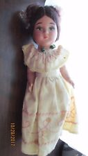 "Antique 9"" Bisque Vintage Doll Handpainted Eyes & Mouth Rare Collectable"