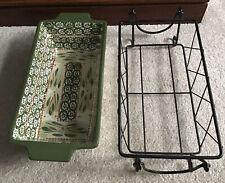 New listing Temp-tations By Tara Old World Ceramic 1.7 Quart Loaf Pan & Rack ~ Green ~ Euc