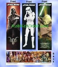 "3 Set-STAR WARS BOOKMARKS DARTH VADER YODA TROOPER Book Mark 5"" card mini Poster"