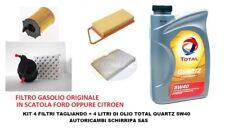 KIT TAGLIANDO FILTRI + OLIO TOTAL 5W40 PEUGEOT 207 1.4 HDI dal 2006 motore 8HZ
